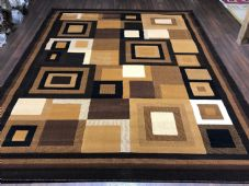 Modern Aprox 9x7FT 270cmX220cm New Rugs Woven Carved Nice Blocks Black/Browns